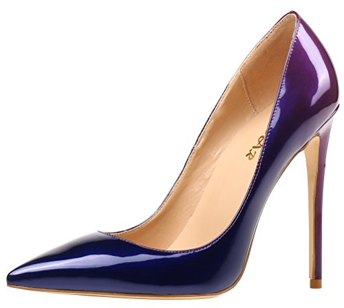 Blau amp; Violett fermées AOOAR femme Coupe qTw6OtW0