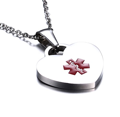 Highly Polished Stainless Steel Heart Tag Medical Alert ID Necklace for Women 20 inch Free Engraving ()