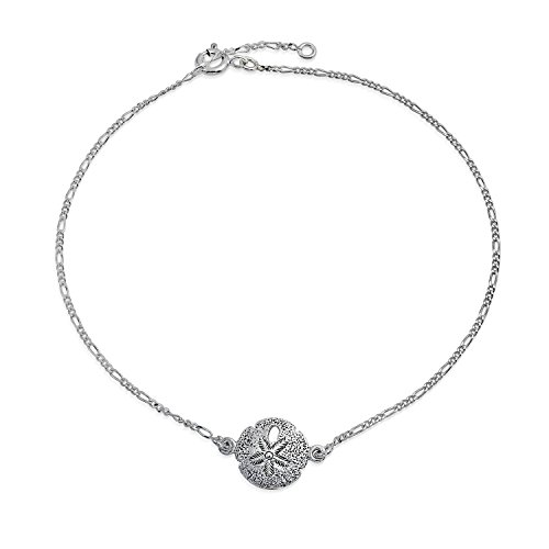 Nautical Silver Dollar Beach Charm Anklet Ankle Bracelet 925 Sterling Silver Adjustable 9 To 10 Inch