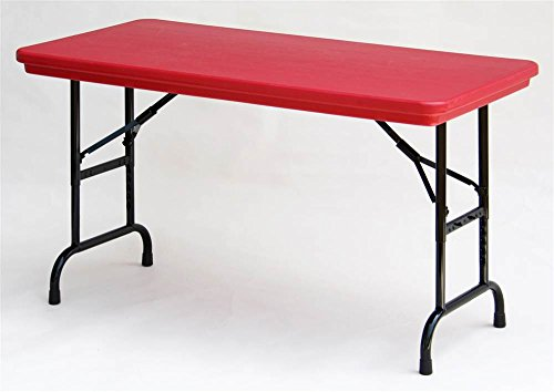 Adjustable Height Folding Table in Red w Standard Leg (Red) (Office Correll Table)