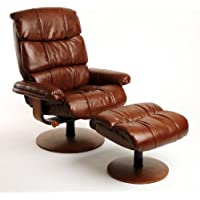 Mac Motion Chairs Swivel Recliner with Ottoman, Vintage Bonded Leather with Walnut Wood Frame