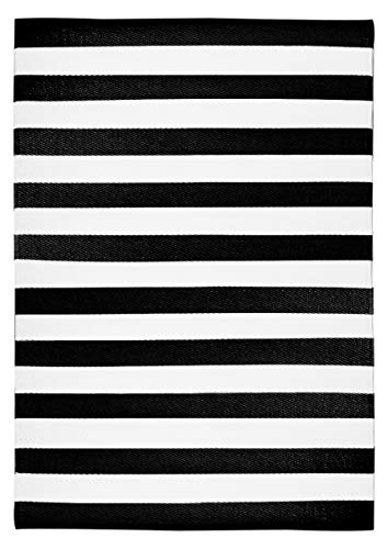 Garden and Outdoor Green Decore Stripes Outdoor/Plastic/Reversible Eco Rug (6′ x 9′, Black White) outdoor rugs