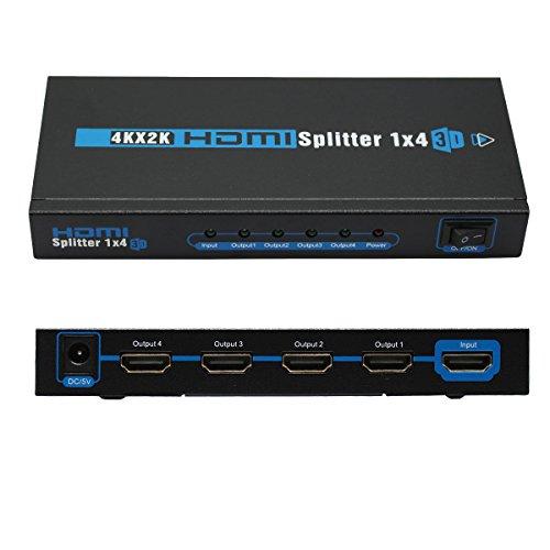 1 to 4 Port HDMI Splitter Amplifier Support 4K x 2K / 1080P / 3D 1.4 Version (One in Four - Splitter Amplifier Hdmi