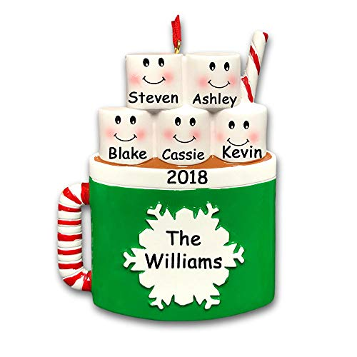 Personalized Marshmallow Family of 5 Christmas Ornament - Hot Cocoa Coffee Mug with Snowflake Detail - Your Choice Names and Date