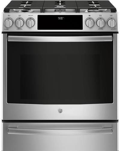 GE Profile P2S930SELSS 30' Inch Smart Slide-in Dual Fuel Range with Sealed Burner Cooktop, 4.5 cu. ft. Primary Oven Capacity in Stainless Steel