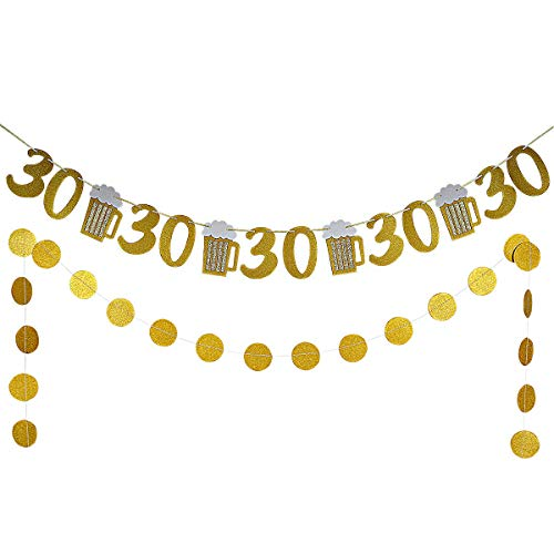Gold Glittery Beer Mug & 30 Banner and Gold Glittery Circle Dots Garland -30th Birthday Wedding Anniversary Party Decor