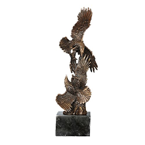 Toperkin Bronze Statues Animal Sculptures Eagles Flying Metal Garden Statue Artwork ()