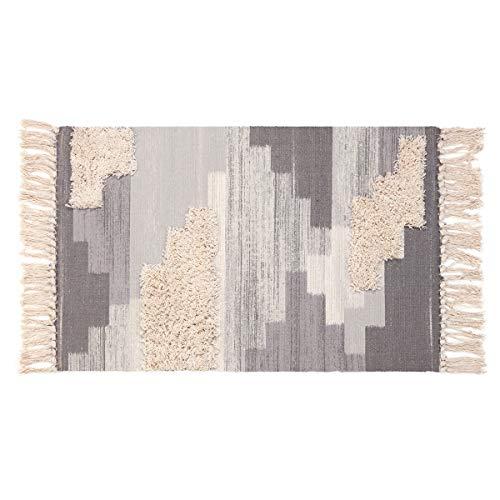 (Tufted Tassel Cotton Area Rug, KIMODE Hand Woven Print Tassels Throw Rugs Carpet Door Mat,Indoor Area Rugs for Bathroom,Bedroom,Living Room,Laundry Room (1.6' x 2.6', Gray))