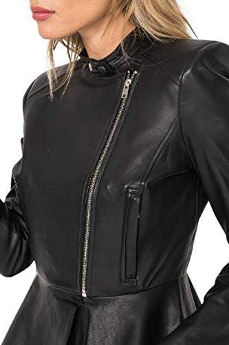 Dried Apple Women's Cinched Waist Black Sheepskin Leather Jacket