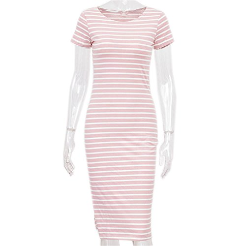 Sissy Childe Fashion Women Casual Summer Dress Short Sleeve O-Neck Bodycon Dress Striped Side Split T Shirt Women's Slim Fit Dresses Pink and White L