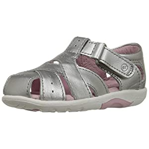 Stride Rite SRT Tulip Sandal (Toddler), Silver, 4 W US Toddler