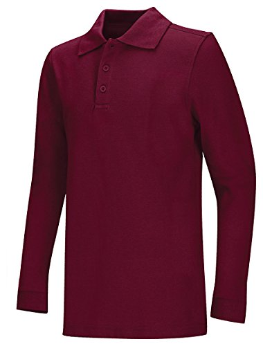 Youth Unisex Long Sleeve Pique Polo (Wine;X-Large)