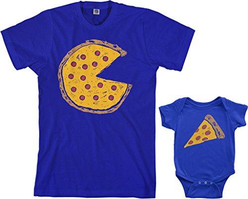 Threadrock Pizza Pie & Slice Infant Bodysuit & Men's T-Shirt Matching Set (Baby: 6M, Royal Blue|Men's: S, Royal Blue) ()