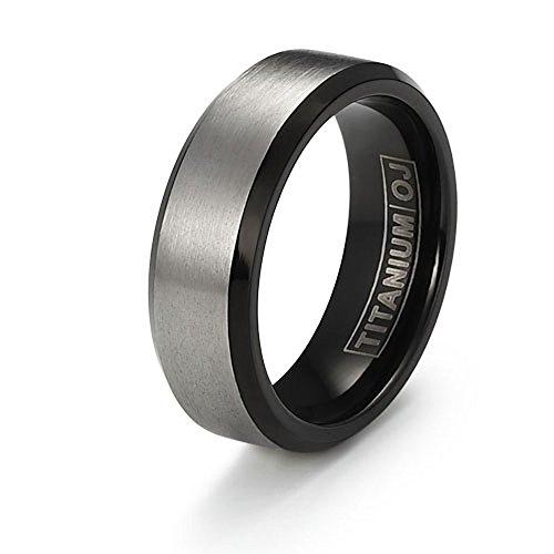 7mm Brushed Flat Titanium Wedding Band Black Beveled Edge Comfort Fit SZ 6-12 Free Engraving Service