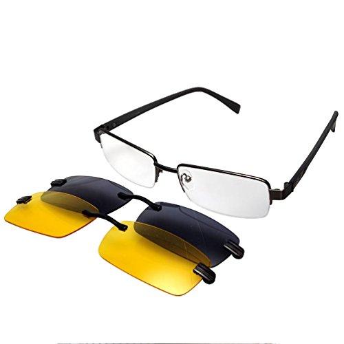 en gafas metal de espectáculo LUFF sol clip polarizadas Mens magnetico frame7615 xftxgEqZ