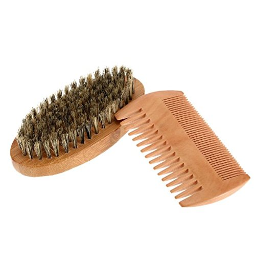Comb & Shaving Brush Set Bamboo Boar Bristles Mustache Beard (Jewelry Closet Recessed)