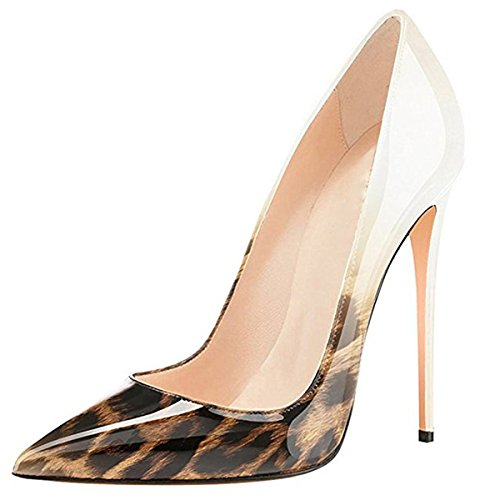 Chris-T Womens Evening Dress Shoes Pointed Toe Stiletto High Heels Pumps White-leopard 1 JgRPPrqPB