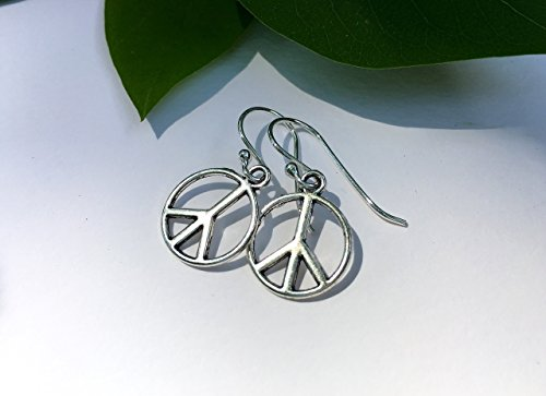 Peace Sign Earrings on Sterling Silver Wires - Small Everyday Earrings - Boho Hippie Jewelry for Women and Girls - Activist Protest Jewelry