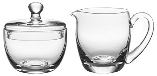 Hand Crafted Crystal Clear Glass Multipurpose Sugar Bowl & Creamer Set, 4-inch ()