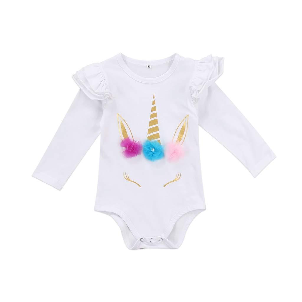 B Bone Cute FaUnicorn Newborn Infant Baby Girl Ruffles Romper Jumpsuit Outfit Sunsuit Clothes