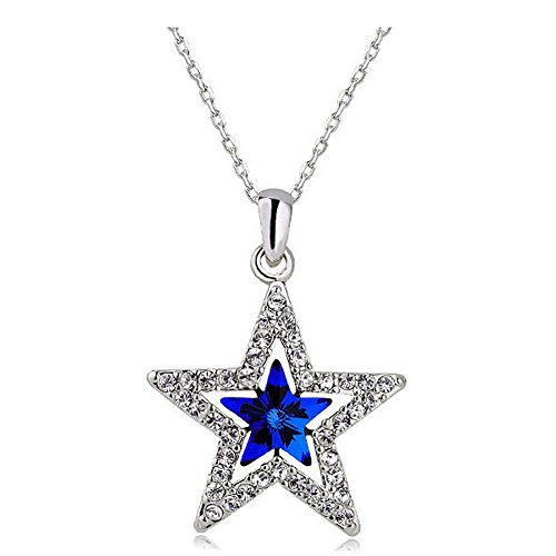 Blue Star Necklace - MUZHE Hollow Double Crystal Five-Point Star Pendant Necklace Ruby Sapphire Ruler Jewelry for Women (Blue)
