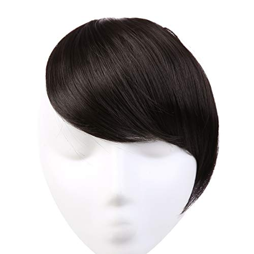 Clip in Hair Bangs Fringe Hair Extensions Swept Full Sweeping Side Synthetic Hairpiece Hair Piece For Women Japan High Temperature Fiber SARLA B2&4 (Bangs For High Forehead And Thin Hair)