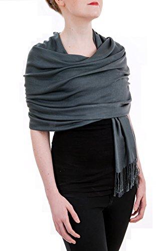 Opulent Luxury Women's Pashmina Cashmere Wrap Scarf Soft Shawl - 80 x 30-Inch - (X 30 Light Gray Top)
