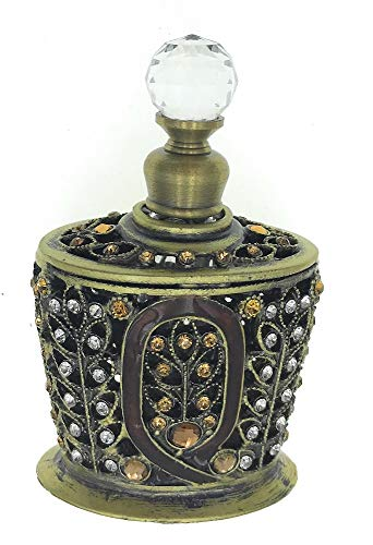 Enameled Perfume Bottle - Welforth Enameled and Jeweled Pewter and Glass Perfume Bottle
