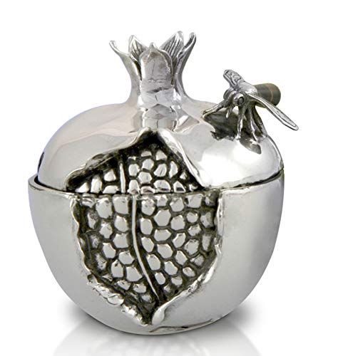 (Sterling silver Pomegranate Honey Dish with fancy Spoon & Glass bowl)