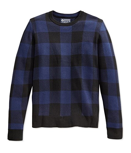 (American Rag Mens Block Check Ribbed Trim Crewneck Sweater Blue XXL)