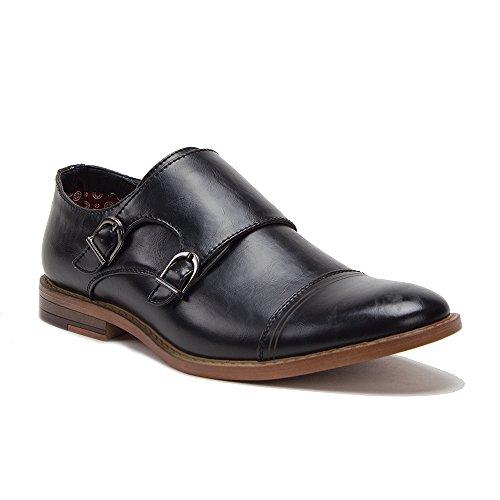 Jaime Aldo Mens C-167 Cap Toe Double Monkstrap Loafer Dress Shoes Black jQ6hjEkn