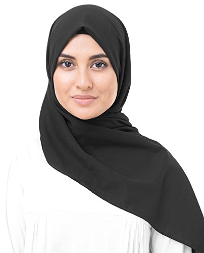 InEssence Jet Black Cotton Voile Scarf Women Girls Wrap Medium Size Hijab