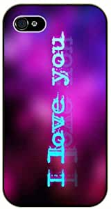 I love you - Pink and blue background - iPhone 4 / 4s black plastic case / Inspiration Walt Disney quotes