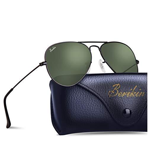 BERIKIN For Men Wowen Classic Aviator Style Sunglasses Green Glass Lenses Black Metal Frame Non-polarized UV400 Protection (Aviator Classic)