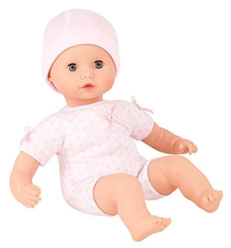 """Gotz Muffin to Dress 13"""" Soft Body Baby Girl Doll with Blue Sleeping Eyes and Pink Cap"""