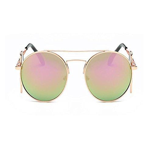 Xinvision Gafas de Retro Dorado Mujer Clásico Metal sol Chic Gafas UV400 Protection Marco ligero Súper Moda Rosa BqrEqx