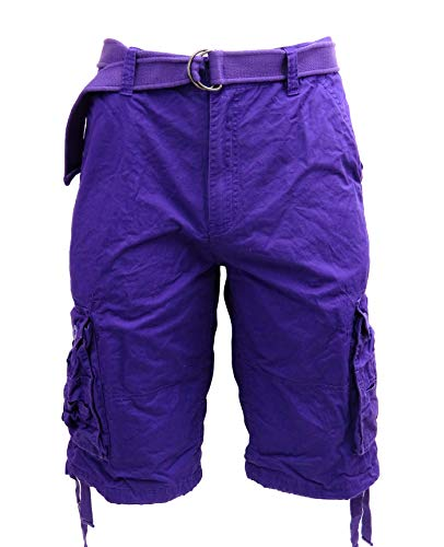 Tank Men's Light Twill Cargo Shorts, Purple, 52