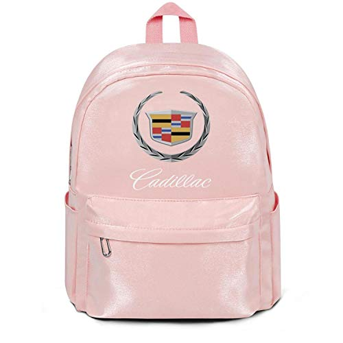Womens Girl Boys Bag Cadillac-Logo- Fashion Nylon Packable School Backpack Bag Purse Pink