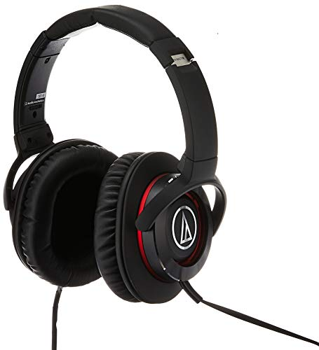 Renewed  Audio Technica Solid Bass® Over Ear Headphones with in line Mic  amp; Control ATH WS770iS  Black/Red