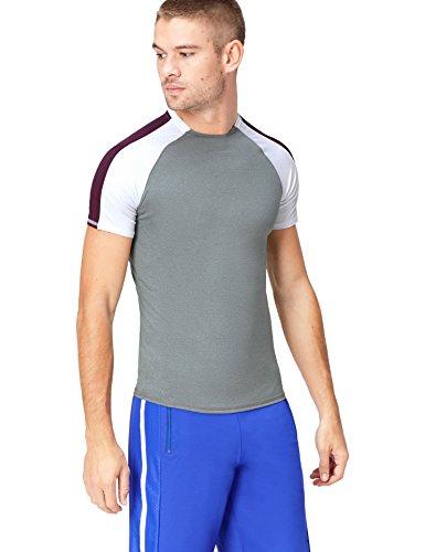 Bloc shirt Bicolore T grey Gris Aubergine Activewear white Homme Marl 1RCpT