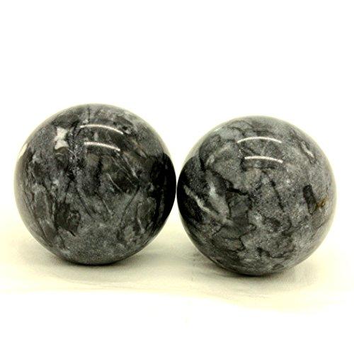 Dark Grey Marble Baoding Health Stress Exercise Balls Chinese Exercise Stress Balls Craft Collection (Jade Stone Ltd)