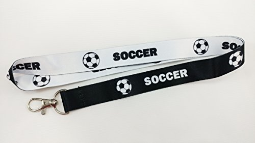 (Soccer Reversible Lanyard Keychain with Metal Clasp - ID Lanyard for Keys, Badges, USB, Whistle, Passport - Sports Fan ID Lanyard for Kids, College, Coach, Referee, Mom, Dad (White or Black) 1-Pack)
