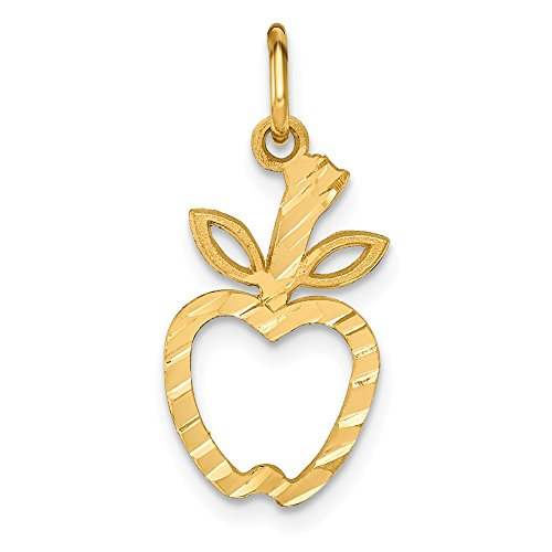 (14k Yellow Gold Apple Pendant Charm Necklace Career Professional Teacher Fine Jewelry Gifts For Women For Her)