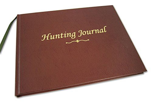 "BookFactory Hunting Journal/Hunter's Log Book/Notebook - 96 Pages, Burgundy Bonded Leather Cover, Smyth Sewn Hardbound, 8 7/8"" x 7"" (JOU-096-CCR-XT-HUNT-XTT44)"
