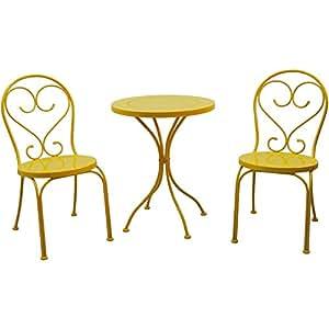 Pequeño Espacio Scroll 3piezas Mesa y sillas muebles al aire libre juego de Bistro, amarillo, asientos 3