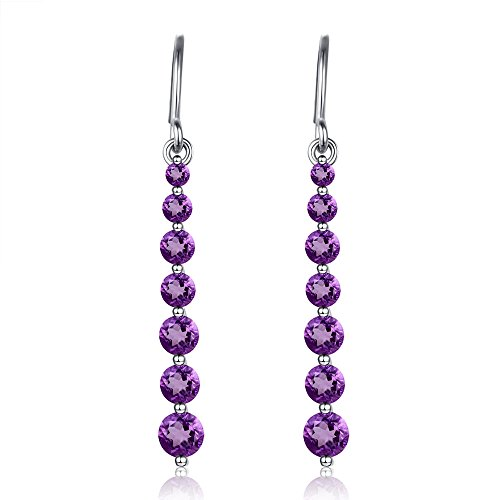 - 2.5Ct Purple Gold Natural Amethyst Drop Dangle Earrings 1.3