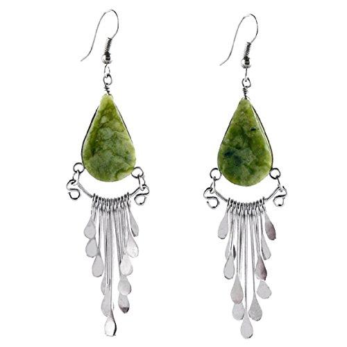 """#4103 Natural Peruvian Serpentine Beaded Drop Stone Earrings Artisan Fair Trade from """"Handmade"""""""