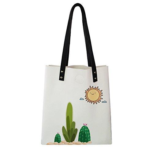 Cactus Shoulder Tote Leather Cactus 1 Instantarts Summer Print for Novelty Bags Women 5BpqxUFn