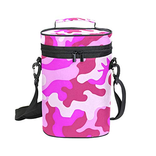 Premium Insulated 2 Bottle Wine Carrier Tote Bag Pink Camo Wine Travel Bag with Shoulder Strap and Padded Protection | Wine Cooler Bag