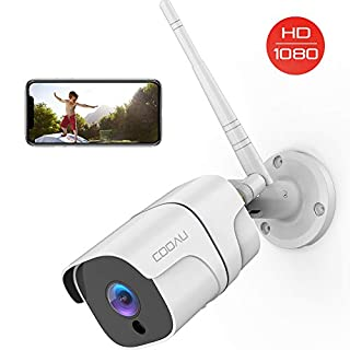 Security Camera Outdoor, COOAU 1080P Wireless Wi-Fi IP Surveillance Cameras with Night Vision, Motion Detection, Activity Alert, 2-Way Audio, IP66 Waterproof, Work with Micro SD Card/Cloud & Alexa